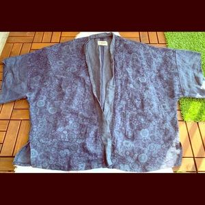 American eagle cardigan open front floral blue OS